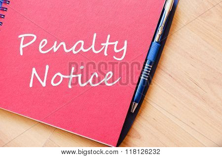 Penalty Notice Write On Notebook