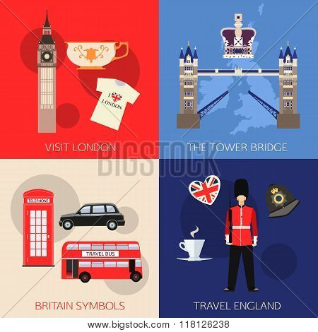 Set of England travel compositions with place for text. Visit London, The Tower Bridge, Britain Symb