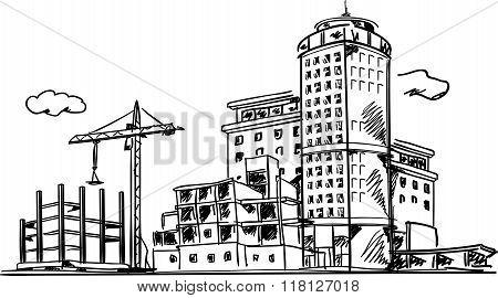 City construction sketch