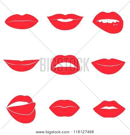 Set of glamour red lips. Beautiful female lips collection