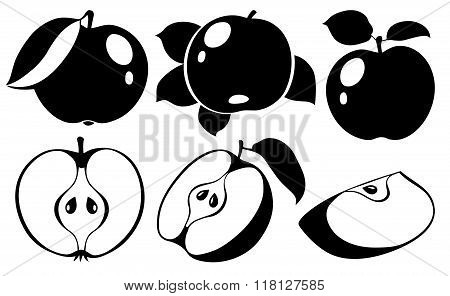 Collection Of Vector Apples In Black