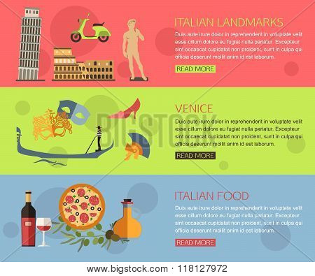 Set of Italy travel horisontal banners with place for text. Venice, Italian Pizza, Italian Symbols,
