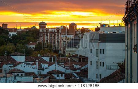 Sunrise over the city of Madrid.