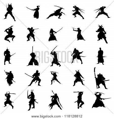 Samurai warriors silhouette set. Samurai warriors silhouette vector. Samurai warriors silhouette black. Samurai silhouette set. Samurai silhouette web. Samurai icons. Samurai icons art