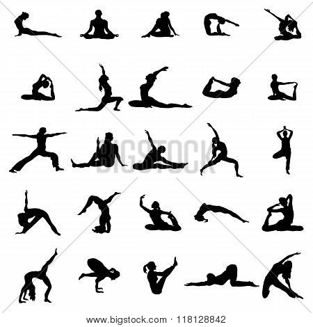 Yoga silhouette set. Yoga silhouette icons. Yoga silhouette art. Yoga silhouette web. Yoga silhouette vector. Yoga icons. Yoga icons vector. Yoga icons art. Yoga icons web. Yoga icons shape