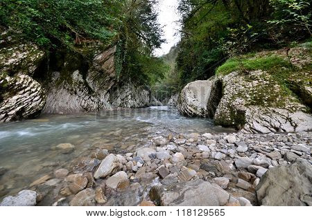 View Of The Devil's Gorge River Hosta, Sochi, Russia