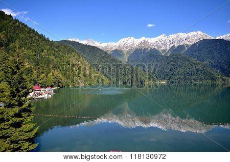 View Of The Mountain Lake Rizza, Abkhazia