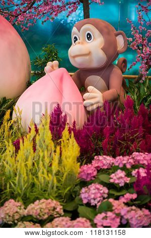 Monkey Mascot With Longevity Peach - Chinese New Year Decoration