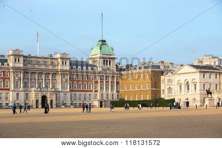 LONDON, UK - OCTOBER 4, 2016:  Whitehall, Royal Horse Guard Palace