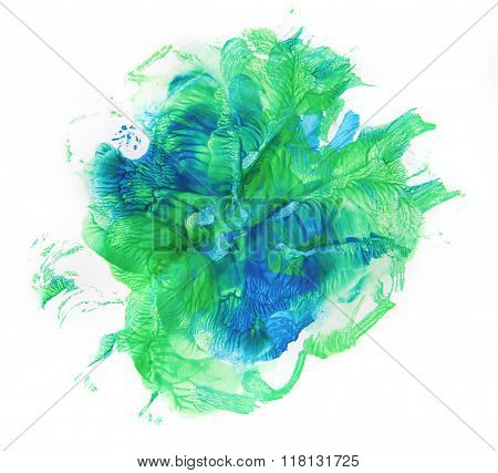 Beautiful green and blue blobs on white background. Monotype.