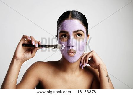 Funny Woman With Lilly Facial Mask