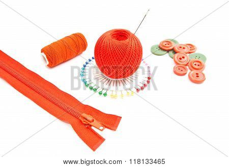 Zipper, Red Spools Of Thread, Pins And Buttons