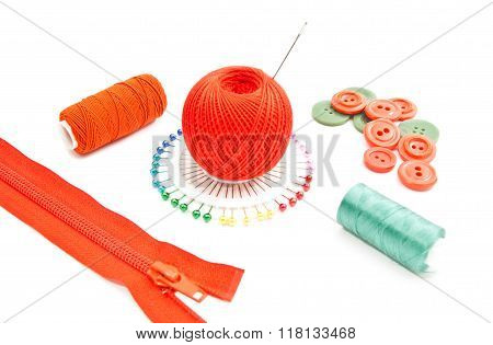 Red Zipper, Spools Of Thread, Pins And Buttons