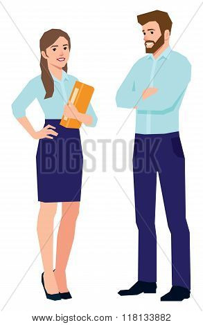 Man And Woman Office Workers In Full Length On A White Background
