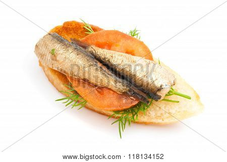 Sandwich With Sprats And Tomato On White