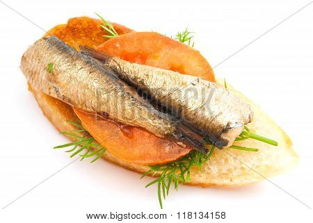 Sandwich With Sprats And Tomato