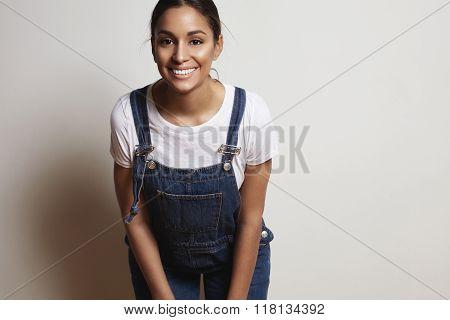 Happy Woman Wears Demnim Overalls