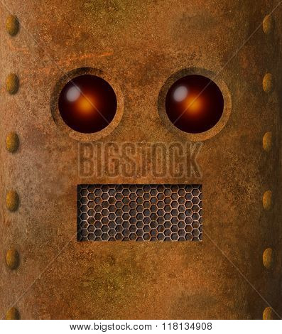 Retro Grungy Rusty Robot Face