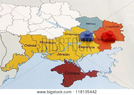 Map Of War In Donbass, Ukraine With Tank