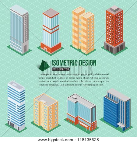 Set of 3d isometric tall buildings icons for map building. Real estate concept.