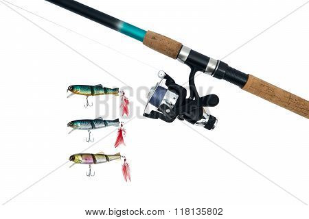 Spinning Rod, Reel And Fishing Baits Isolated On White Background