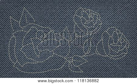 a cool rose fancywork as Blue Jeans Element. fashion denim texture. Vector Patch, Fragments.