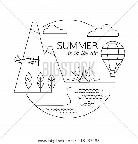 Summer is in the air. Air travel and tourism outline background. Minimalistic linear travel vacation