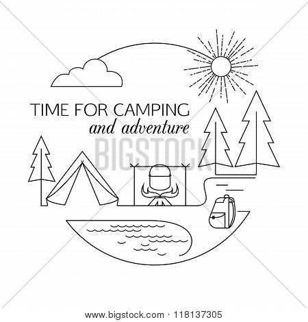 Time for Camping and Adventure. Camping and forest travel and tourism outline background. Minimalist