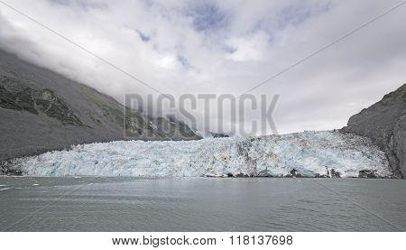 Glacier Front On A Ocean Bay