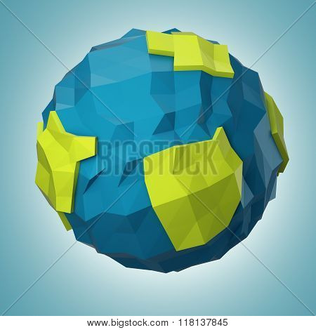 Abstract Polygonal Planet  On Dark Blue Background