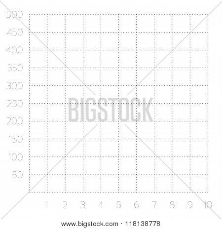 Single quadrant cartesian grid - Isolated black and white graph grid template