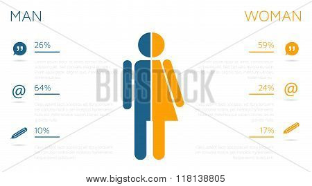 Man And Female Infographic Template With Comunication Icons