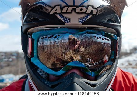 Khabarovsk , Russia - march 22, 2014 : the helmet of a motorcycle racer