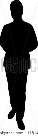 a standing man body black color silhouette vector
