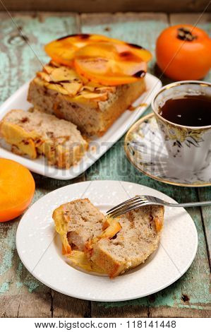 Homemade Persimmon Cake With Fresh Persimmons And Black Tea