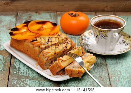 Tasty Persimmon Cake With Fresh Persimmon Slices