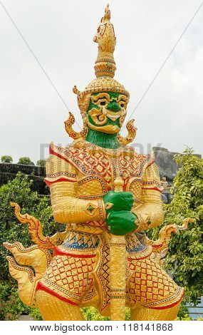 The Big Giant guardian statue in buddhist temple in Thailand