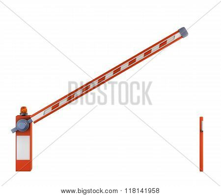 Frontal View Of Half-open Barrier Isolated On White Background. 3D. Barrier With Led Signal.