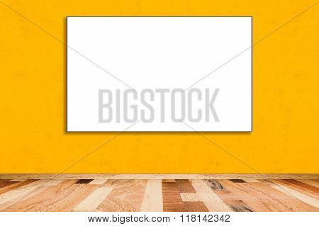 Blank Folded Paper Poster Hanging On Yellow Wall