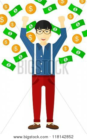 Happy man with  flying money.