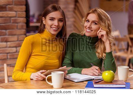 Beautiful Girls In Cafe
