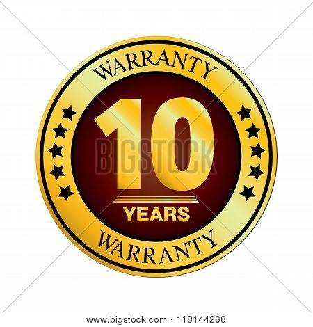 Warranty Design. Ten Year Warranty Design isolated on white background.