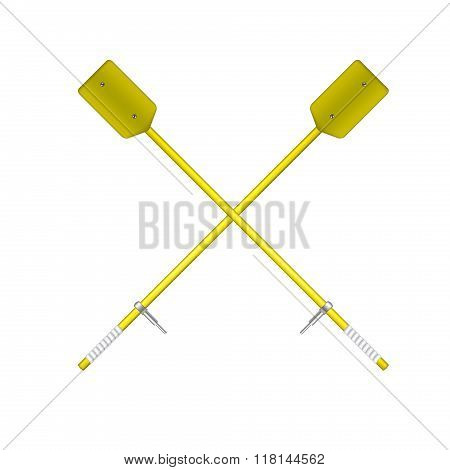 Two crossed old oars in yellow design