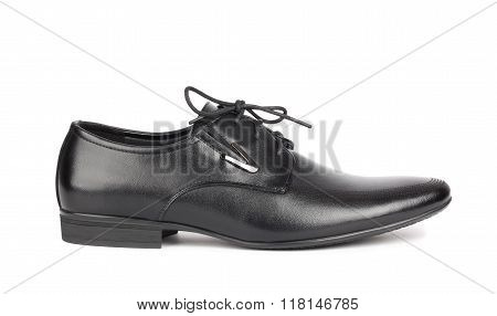 Black Elegant Men's Shoes On White Background