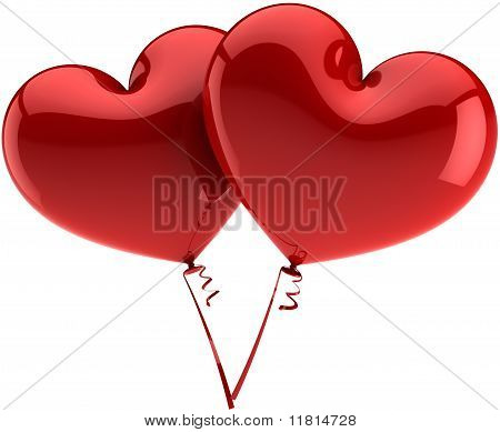 Red heart balloons couple