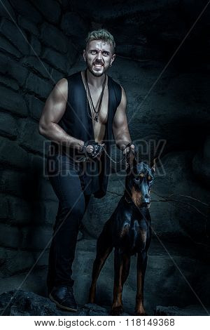 Angry Man With A Dog Doberman.