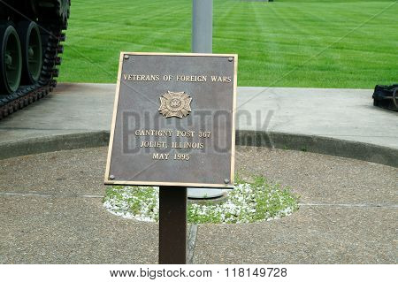 Plaque: Veterans of Foreign Wars Cantigny Post 367