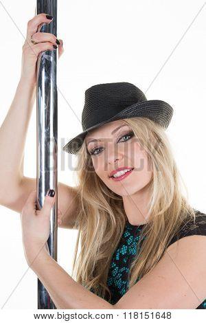 Blond Gorgeous Woman Around The Sexy Pole