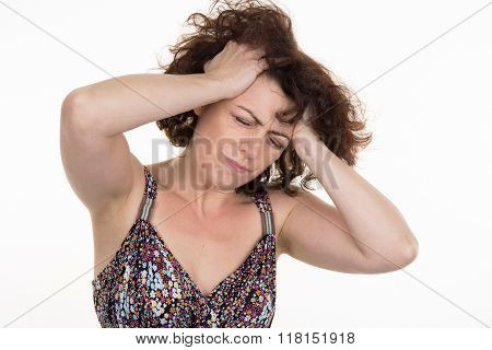 Tinnitus Concept - Stressed Out Young Woman Having Painful Migraine,covering Closed Ears,