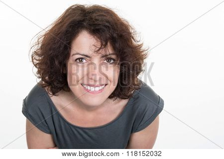 Headshot Of A Middle Age Woman Isolated